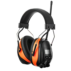 PROTEAR AM FM Radio Earmuff, Noise Reduction Bluetooth Radio Headphones with Rechargeable Battery - NRR 25dB Ear Protection Safety Earmuffs for Lawn Mower Work Headphones(Orange) (Color: Orange, Bluetooth with Rechargeable Battery)