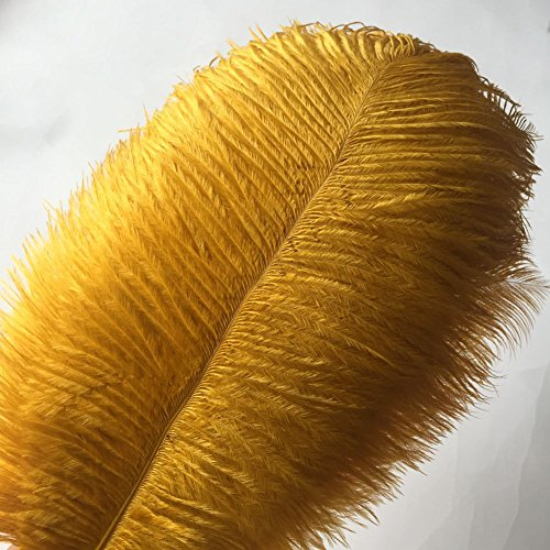 Sowder 10pcs Ostrich Feathers 12-14inch(30-35cm) for Home Wedding Decoration (golden)