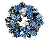 パール金属 ハッピー サンタ クリスマスリース ブルー D-3188