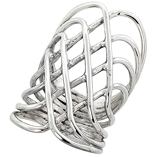 "Revoni Sterling Silver Hand Made Freeform Wire Wrap Ring, 1 9/16"" (40mm) wide"