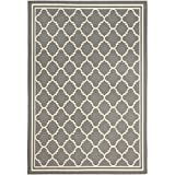 "Safavieh Courtyard Collection CY6918-246 Anthracite and Beige Area Rug, 6 feet 7 inches by 9 feet 6 inches (6'7"" x 9'6"")"