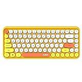 Docooler Ajazz 308i Wireless Keyboard Round Key Cap 84 Keys Gaming Keyboard for Windows 2000, XP, ME, Vista, 7/8/10 (Color: Yellow)