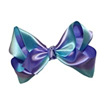 Girls New Two Tone Satin Ribbon Hair Bow on Alligator Clip