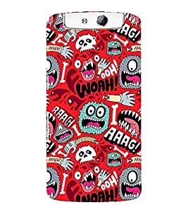 ANIMATED MONSTERS IN A RED BACKGROUND 3D Hard Polycarbonate Designer Back Case Cover for Oppo N1