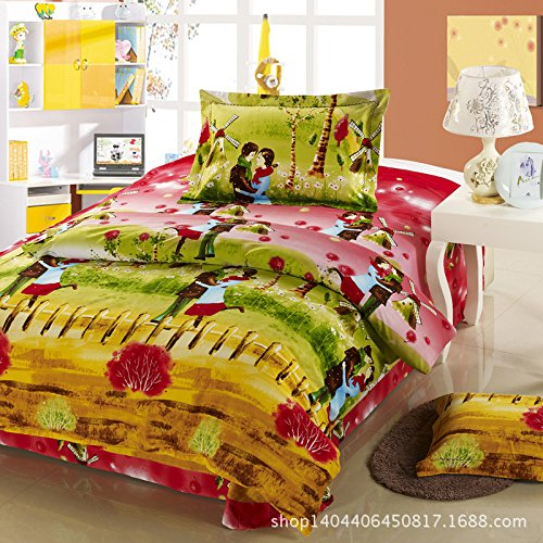 4Pc Bed Sheet Set Cotton Brushed Denim Thick Cotton Quilt Bedding Sets front-852502