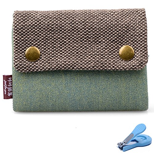 Katloo Heavy-Duty Canvas Tri-fold Wallet with Finger Ring + Nail Clipper (Two Finger Rings For Teen Girls compare prices)