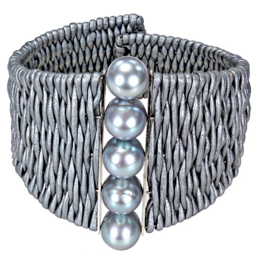 Sterling Silver Freshwater Grey Pearl and Leather