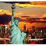 Pitaara Box The Statue Of Liberty And New York City Skylines, USA - SMALL Size 15.1 Inch X 14.0 Inch - FRAMED CANVAS Wall Paintings With 6mm (0.24 Inch) THICK MDF MOUNTING FRAME : DIGITAL PRINT Wall Posters Art Panel Like Hand Paintings : Home Interior Wa