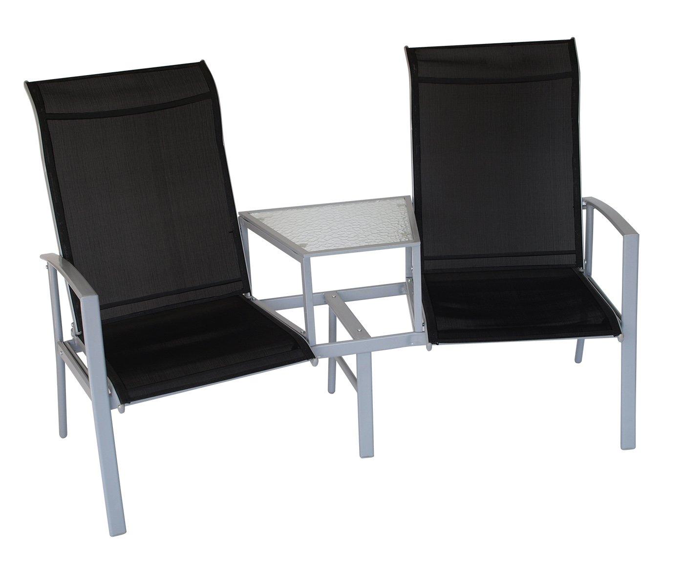 Tete à Tete Bank MERAN 2-sitzer mit Mitteltisch, Stahl + Textilgewebe schwarz kaufen