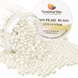 PandaHall Elite About 1000 Pcs 4mm Tiny Satin Luster Glass Pearl Bead Round Loose Spacer Beads for Jewelry Making Anti-Flash White (Color: Anti-flash White-1000 Pcs, Tamaño: 4~4.5mm)