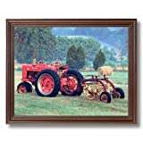 Farmall Model M Tractor And Rake Home Decor Wall Picture Cherry Framed Art Print