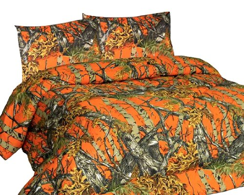 NEW ORANGE FOREST CAMO MicroFiber Comforter Bed Spread -Queen