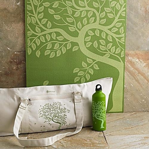 Gaiam Tree of Life Yoga Mat + Tote Bag + Water Bottle Image