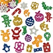 Christmas Glitter Foam Stickers for Children for Decorating Festive Cards Crafts (Pack of 120)