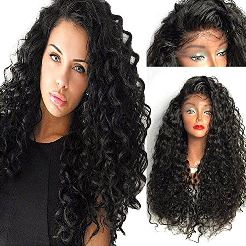 """Synthetic Hair Curly Lace Front Wigs for Black Women with Baby Hair 24"""" + Free Cap and Gifts"""