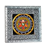 MJR Digital Print Carved White Metal Decorative Dry Fruits Box- The Tantra - 5 x 5 inches.