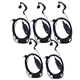 1 Pin G Shape Earhook Earpiece Headset PTT and Mic Compatible for HYT Hytera Two Way Radio TC1688 TC310 TC-1688 TC-310 TC-320 etc/Motorola Walkie Talkie, Pack of 5, By Lsgoodcare