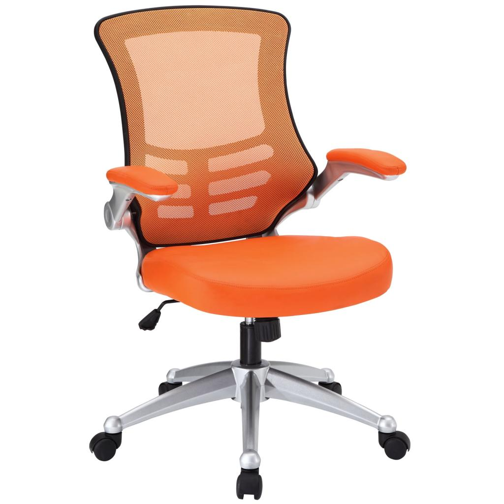 Office Chair With Orange Mesh Back And Leatherette Seat Furniture