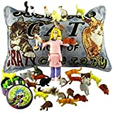 Crazy Cat Lady Action Figure Candy Tin and Throw Pillow Novelty Gag Gift Bag