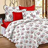 Story@Home 100% Cotton Floral Print Trendy Premium Double Bedsheets with 2 Pillow Covers, Red