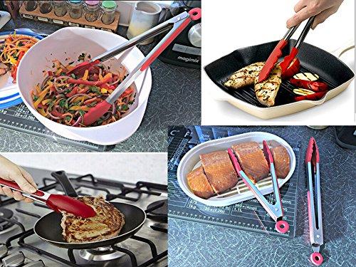 iNeibo pince cuisine professionel/pince barbecue/ustensile de cuisine en INOX et silicone alimentaire sans BPA, avec système de verrouillage automatique , résistant à la chaleur, antidérapant, idéal pour: servir, barbecue, buffet, salades, glaçons, gateaux, pains, etc (30,5cm/Rouge)