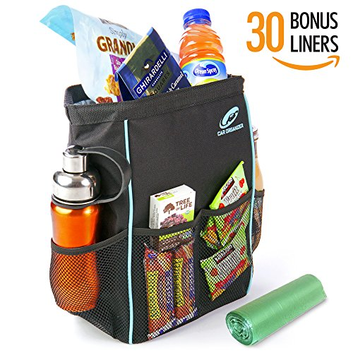 Car Organizer BL-AQ Leak Proof Car Trash Can Bundle with 30 Disposable Liners, 13 x 5 x 9-Inch, Black and Aqua (Detailing Organizer compare prices)