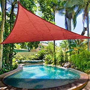 11.5' Triangle Outdoor Sun Shade Sail Patio Red: Amazon.co ...