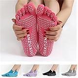 Iumer Women's 5 Toes Yoga Gym Socks Dance Sport Exercise Non Slip Massage Fitness Warm Socks Black