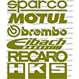 12Pcs Racing Sponsors Logo Sport GOLDEN COLOUR Sticker Emblem Decal For Any Car Bmw Subaru #4