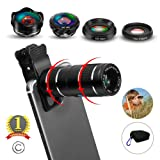 Phone Camera Lens,5 in 1 Cell Phone Lens Kit - 12x Telephoto Lens HD Wide Angle Lens?? Lens? Lensesï¼?2psï¼? with Durable Aero
