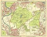 LONDON SW: Richmond Wimbledon Putney Twickenham Kingston-upon-Thames, 1921 map