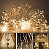 Solar Outdoor String Lights,Eonfine Fairy String Lights on Flexible Copper Wire 72ft 150 LED Ambiance Lighting for Outdoor, Gardens, Homes, Christmas Party-- 2 Modes (Steady on / Flash) Warm White