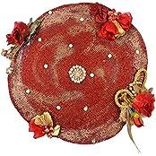 Renu's Red Beaded Tray (38 Cm X 38 Cm X 38 Cm, Red)