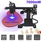 Yofuly 7000mW Laser Engraver Machine Upgrade Version DIY Mini CNC Machine, Wood Router Engraver Off-line Engraving DIY Laser Engraving Printer with Protective Glasses(7000mW) (Tamaño: 7000mW)