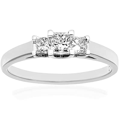 Naava 18ct White Gold Trilogy Ring, J/I Certified Diamonds, Princess Cut