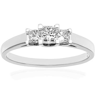 Naava 18ct White Gold Trilogy Ring, J/I Certified Diamonds, Princess Cut