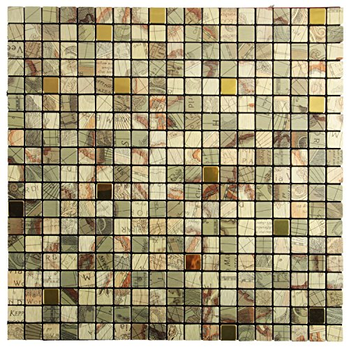 Royllent Modern Matel Aluminum Mosaic Bursh Type Peel&Stick Tiles Kitchen Decoration Backsplash Accent wall Tv&Sofa Background Bathroom Wall 1 Sq.ft (Globe) (Sticker Kitchen Cabinet compare prices)