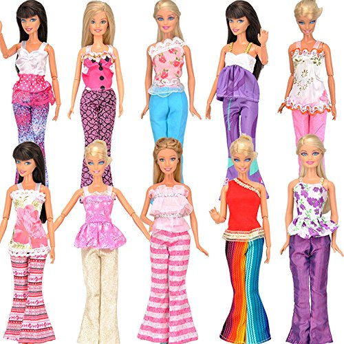 E-TING 5 Set Doll Clothes Outfit 5 Tops 5 Trousers Pants for Barbie Doll Random Style - 1