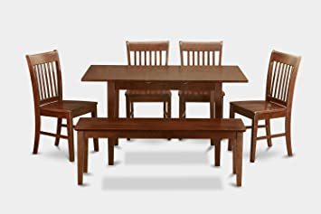 East West Furniture NOFK6C-MAH-W 6-Piece Dinette Table Set, Mahogany Finish