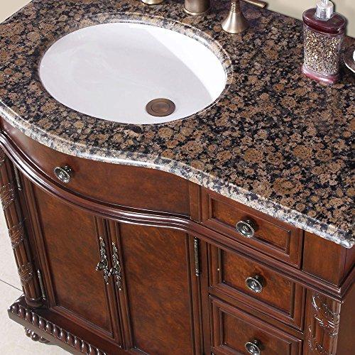 Silkroad exclusive baltic brown granite stone top single 36 inch bathroom vanity with granite top
