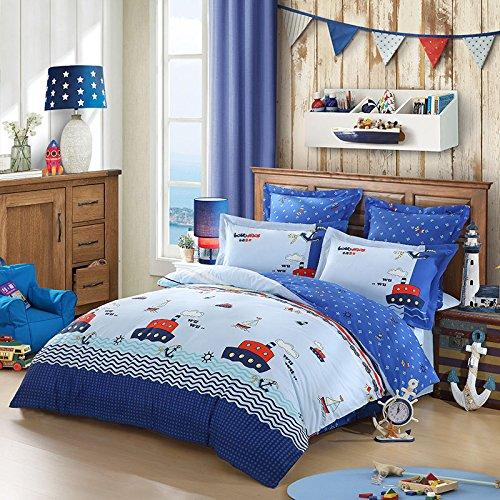 LOVO KIDS Summer Nautical Ship 100% Cotton 300-Thread-Count Bedding Sheet Set 3pcs 1x Duvet Cover,1x Flat sheet & 1x Pillowcase FULL