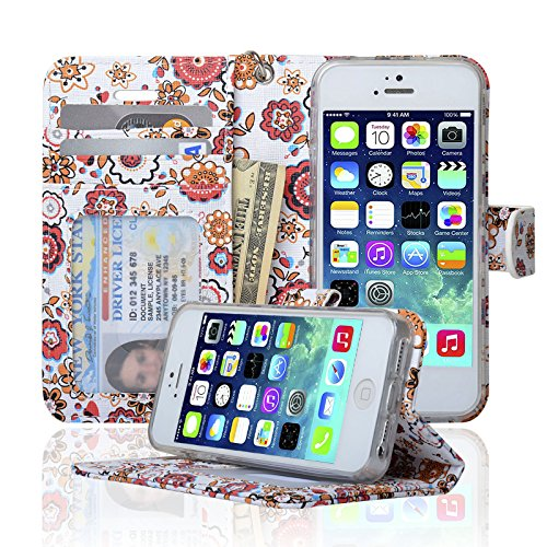 03. Navor Protective Flip Wallet Case for iPhone 5 / 5S / SE - Raj (IP5ORJ)