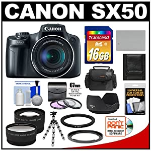 Canon PowerShot SX50 HS Digital Camera (Black) with 16GB Card + Case + Battery + Tripod + 2 Lens Set + 3 UV/FLD/CPL Filters + Hood + Accessory Kit