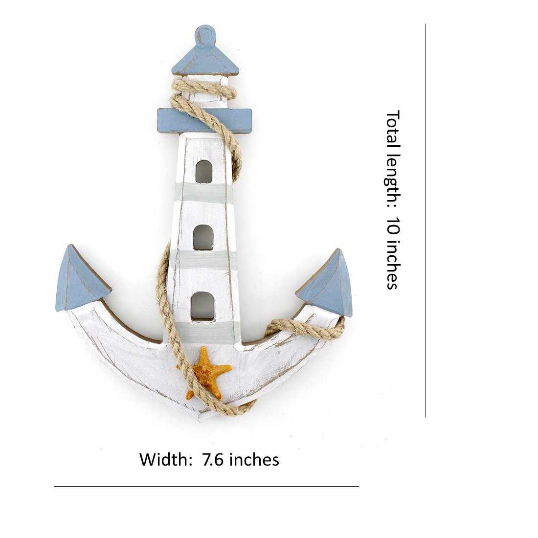 "10""x7.6"" Wooden Nautical Lighthouse Anchor Wall Hanging Ornament Plaque"
