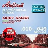 AriaproII アリアプロII エレキギター用コーティング弦 ニッケル ライト 3セットパック AGS-803C/L