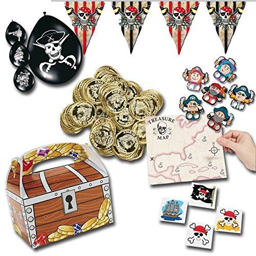 Piratenparty Mitgebsel Set B mit 225 Teilen Schatzkiste Schatzkarte Ballons Fingerpuppen Goldtaler Wimpelkette Palandi®