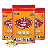 Survival Tabs - 1-Day Food Supply - Emergency Survival Food MRE for Outdoor Activities Camping Biking Climbing Also for Disaster Preparedness such as Earthquake Flood Hurricane Tornado Gluten-Free, Non-GMO The Survival Tabs 25 Years Shelf Life (3 pouches x 4 tablets = 12 Tablets/Vanilla Malt)