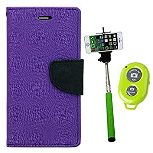 Aart Fancy Diary Card Wallet Flip Case Back Cover For Samsung 7102 - (Purple) + Remote Aux Wired Fashionable Selfie Stick Compatible for all Mobiles Phones By Aart Store