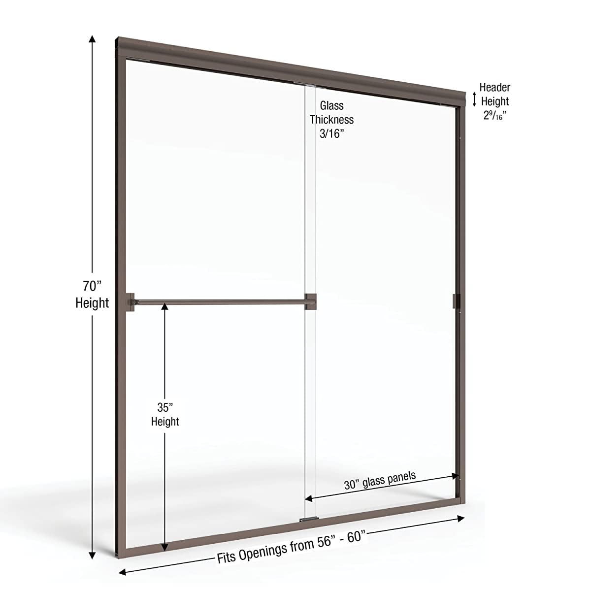 Basco Classic Sliding Shower Door, Fits 56-60 inch opening, Clear Glass, Oil Rubbed Bronze Finish
