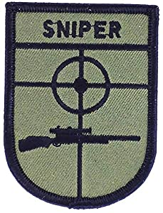 Patch ecusson brodé sniper airsoft us marines army thermocollant